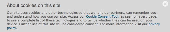 Cookie tracking notice in response to GDPR