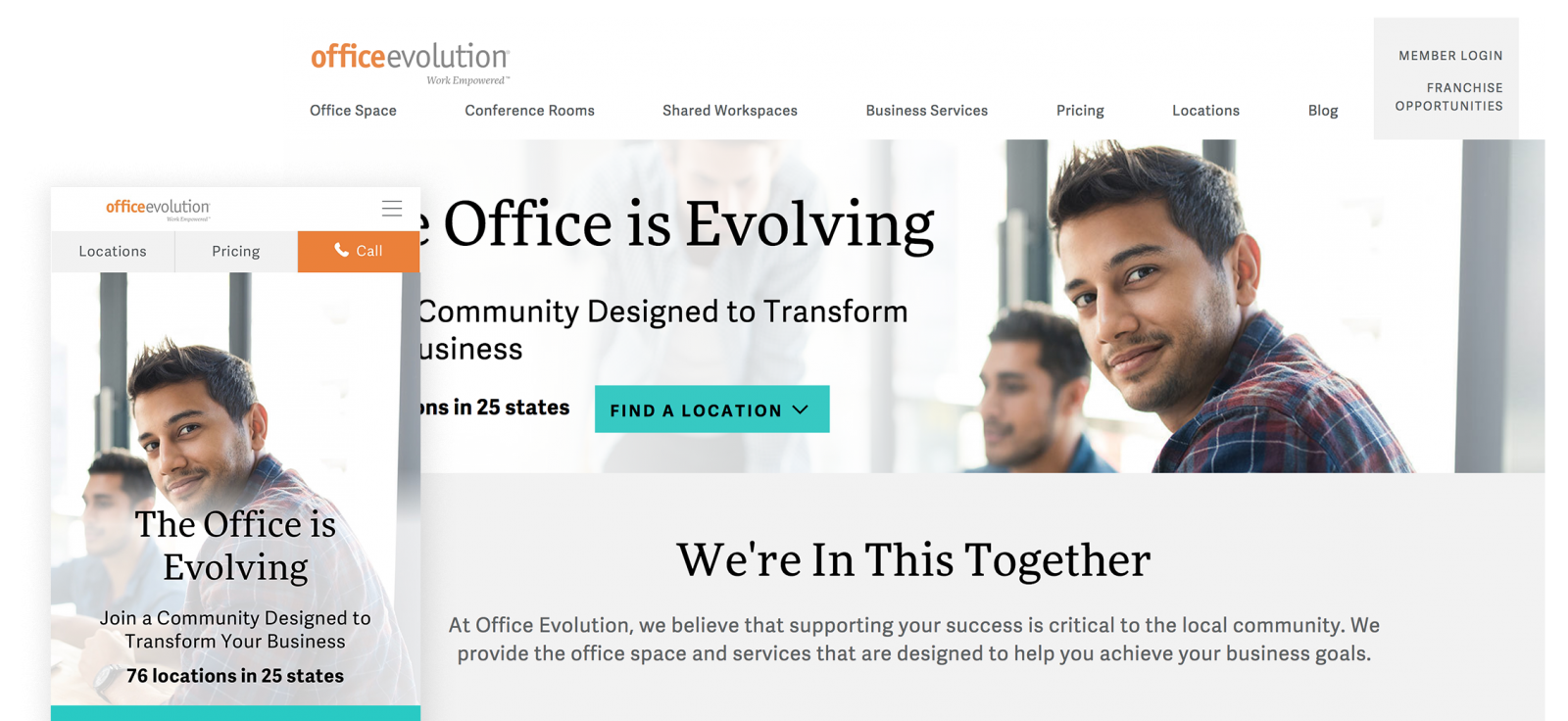 office evolution website screenshots