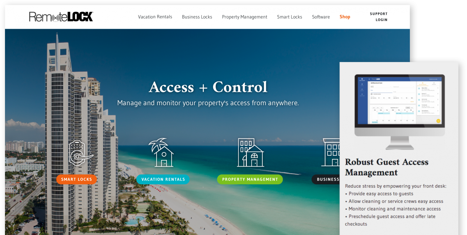 RemoteLock website on desktop and mobile devices