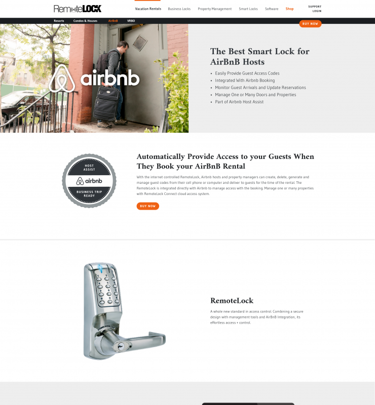 RemoteLock partner web page featuring Airbnb