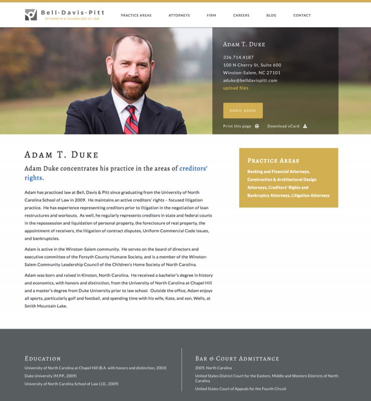 Adam T. Duke Bell, Davis & Pitt Profile Page