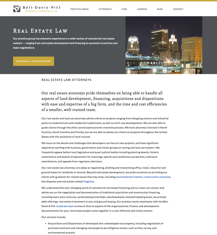Bell, Davis & Pitt Real Estate Law Screenshot