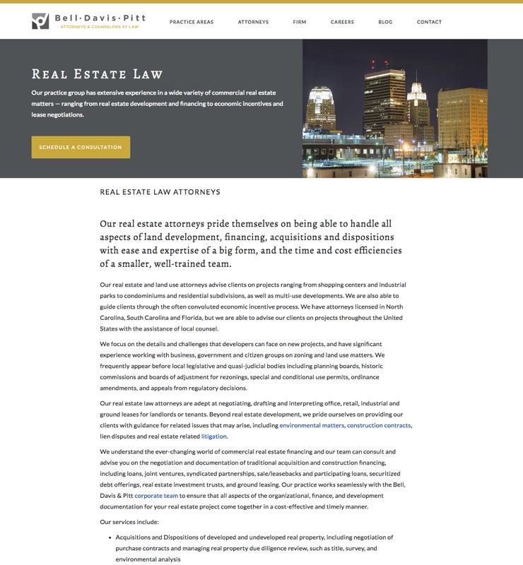 Bell, Davis & Pitt Real Estate Law Screenshot