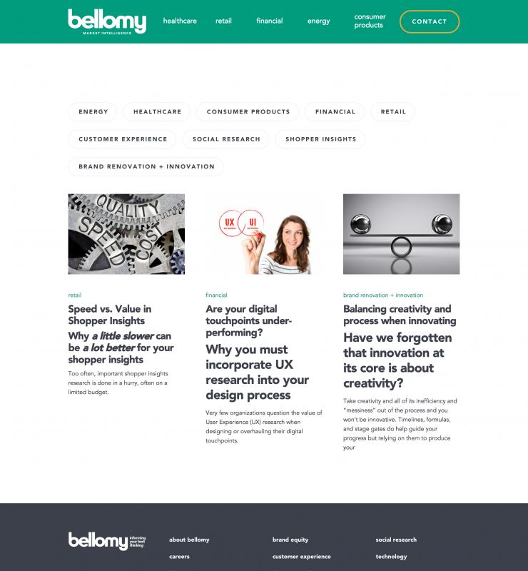 Bellomy Blog website page