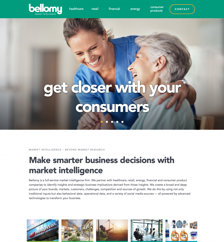 Bellomy Homepage website page