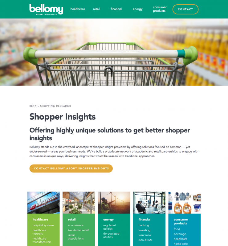 Bellomy Shopper Insights website page