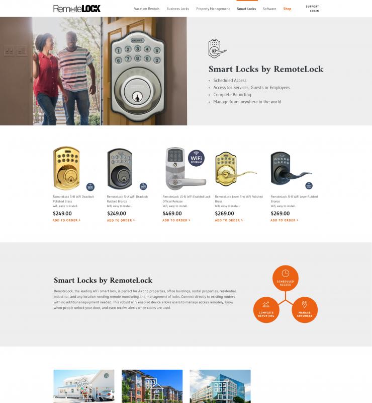 Webpage for Smart Locks by RemoteLock