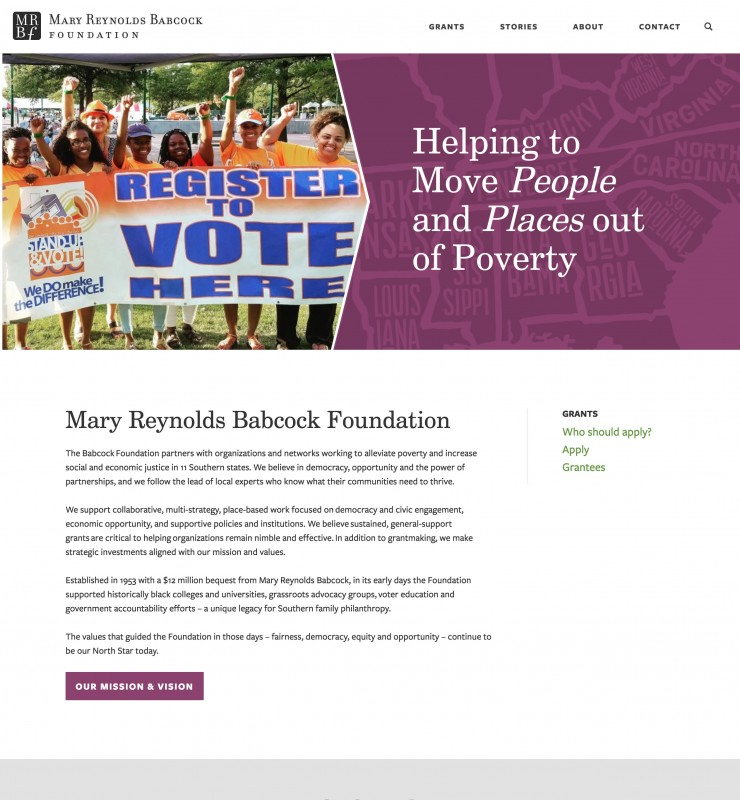 Mary Reynolds Babcock Foundation website screenshot
