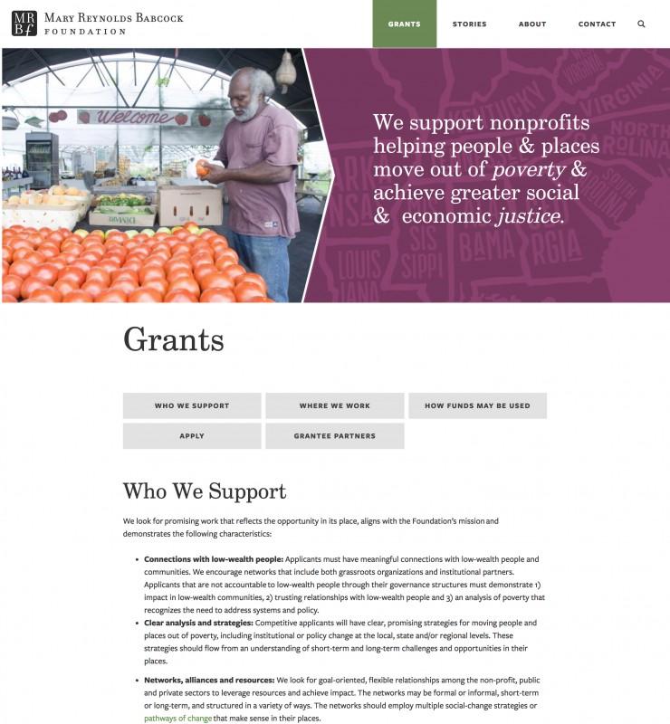 Mary Reynolds Babcock Foundation website screenshot